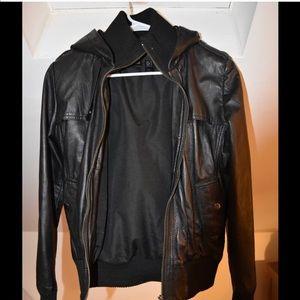 Genuine Leather Jacket w/ hood